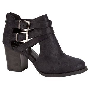 Chunky Heel Cutout Booties With Silver Buckles